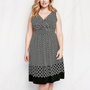 Land's End Fit & Flare Polka Dot Dress Small